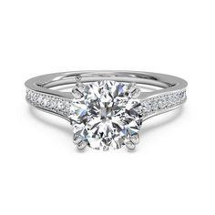 Ritani Engagement Ring with Bead-Set Diamond Band