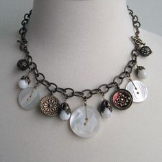 """love this necklace/bracelet...comes with 8"""" extension so it can be worn both ways...love the buttons"""