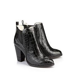 Stiefeletten in Reptiloptik - Edle schwarze Stiefeletten von Buffalo London. Die schicken Schuhe treten hier im Reptillook mit bequemen Blockabsatz auf. - ab 119,90€