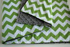 Green Chevron Minky Blanket Green and Grey by DragonflySummer1, $36.00