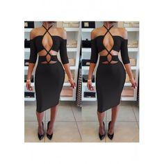 MalangFashion Black Plain Cut Out Plunging Neckline Elbow Sleeve Midi Dress