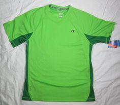 Men's Champion Powertrain Vapor T Shirt  Short Sleeve Green Medium New With Tags #Champion #ShirtsTops
