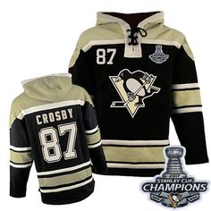 Old Time Hockey Pittsburgh Penguins  87 Youth Sidney Crosby Authentic Black  Sawyer Hooded Sweatshirt Stanley 778dd1e73