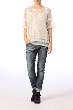 Top transparent en tulle et dentelle Lace Blanc / Ecru Ichi sur MonShowroom.com