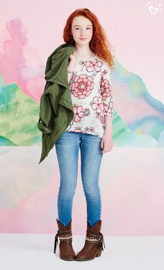 Our exclusive Avery top goes great with embellished cowboy boots and a cool military-green jacket.