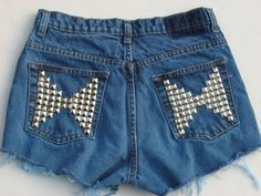 Studded Shorts, The Butterfly Back in Blue.  Find all our Custom Designs at Minkus Margo on Etsy and Ebay