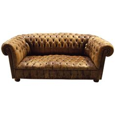Vintage Leather Chesterfield Sofa | From a unique collection of antique and modern sofas at https://1stdibs.com/furniture/seating/sofas/