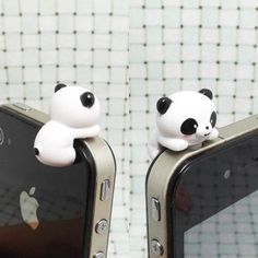 20%OFF Adorable White Black Hanging Panda Dust Plug 3.5mm Phone Accessory Charm Headphone Jack Earphone Cap iPhone 4 4S iPad HTC Samsung Ipod Cases, Cute Phone Cases, Fimo Kawaii, Handy Iphone, Iphone 4s, Iphone Wallet, Accessoires Iphone, Dust Plug, Cute Panda