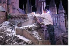 Check out how they created the Hogwarts at Christmas set: Model Effects Supervisor Jose Granell sprinkling snow on the Hogwarts model.