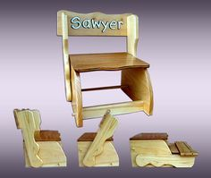 Combination Child Chair & Step Stool, Acrylic Painting Personalized Kids…