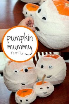 Create a Family of Pumpkin Mummies for Halloween! This is a cute DIY Halloween craft to make with the kids this Fall! Spooky Halloween Crafts, Mummy Crafts, Adornos Halloween, Manualidades Halloween, Halloween Activities, Holidays Halloween, Halloween Kids, Halloween Pumpkins, Halloween Party