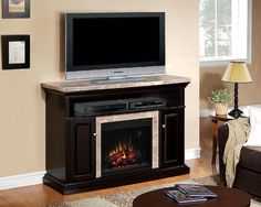Brighton Electric Fireplace Media Console in Coffee Black - 23MM1424-X445 - transitional - Fireplaces - Other Metro - Electric Fireplaces Direct