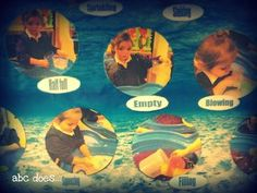 Abc does shows a display in the water area. if our water tray is ever in a 'fixed' position. Eyfs Classroom, Classroom Displays, Classroom Ideas, Sand Play, Water Play, Nursery Activities, Science Activities, Water Tray Ideas Eyfs, Abc Does