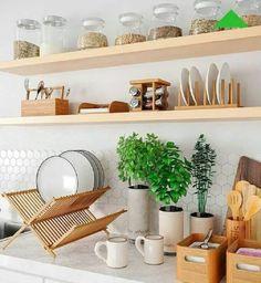 How to clean your kitchen credenza? Small Kitchen Organization, Diy Kitchen Storage, Home Decor Kitchen, Kitchen Interior, Home Kitchens, Kitchen Design, Diy Zimmer, Home Accessories, Sweet Home