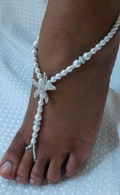 Barefoot sandales plage mariage bijoux de mariée mariage perle bijoux étoile de mer pieds bijoux sandale blanc mariée parti cadeau