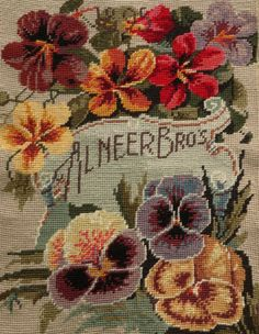 Vtg-Completed-Needlepoint-Canvas-Blooming-Pansy-Flowers
