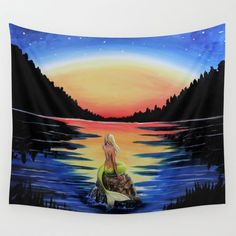Mermaid Starry Night Wall Tapestry by Zepetto. Worldwide shipping available at Society6.com. Just one of millions of high quality products available.