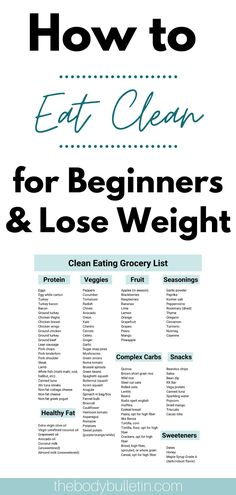 Want to eat clean but not sure where to start? This is the ultimate guide to eating clean for beginners losing weight. Click the pin to lean how to eat clean and be sure to grab the clean eating grocery list and 5 day meal plan to get started. Clean Eating Diet Plan, Clean Eating Grocery List, Clean Eating Challenge, Healthy Eating Plans, Beginner Clean Eating, Clean Gut Diet, Grocery List Healthy, Healthy Eating Schedule, Healthy Eating Meal Plan