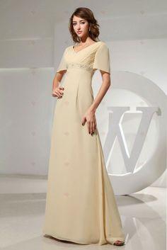 yellow dress A-line V-neck Short Sleeve Floor-length Chiffon Mother Of the Bride Dresses