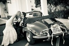Just married car sign and cans!
