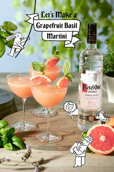 After much consideration, we dub grapefruit and basil the ideal martini for spring.  Summer Cocktails, Cocktail Drinks, Fun Drinks, Cocktail Recipes, Beverages, Ketel One Vodka, Alcohol Drink Recipes, Non Alcoholic, Mixed Drinks