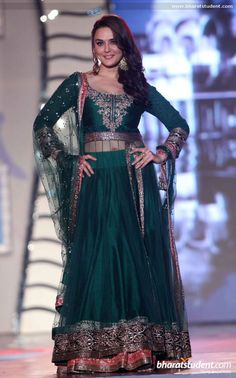 Preity Zinta in Manish Malhotra Fashion Show for 'Save & Empower Girl Child' #salwaar kameez #chudidar #chudidar kameez #anarkali #anarkali suits #dress #indian #outfit  #shaadi #bridal #fashion #style #desi #designer #wedding #gorgeous #beautiful