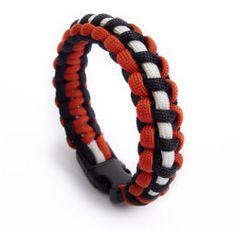 burnt orange black w/ white accent - paracord bracelets | a-bandz