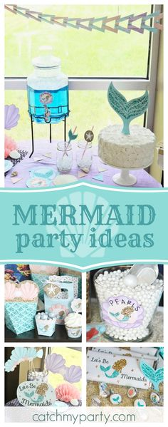 Let's all be Mermaids at this wonderful mermaid birthday party! The photo booth props are so cool!! See more party ideas and share yours at CatchMyParty.com