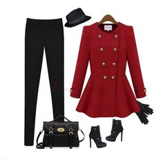 Pretty O-Neck Full Sleeve Fabala Hem Double Breasted Pure   Color Women Leisure Trench Coat  US$33.99(60% OFF)
