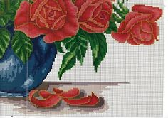 Roses in vase 3 of 7 bottom right Cross Stitch Numbers, Cute Cross Stitch, Cross Stitch Rose, Cross Stitch Flowers, Cross Stitch Charts, Cross Stitch Designs, Cross Stitch Patterns, Cross Stitching, Cross Stitch Embroidery