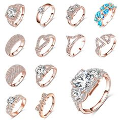 Details about Women Fashion Jewelry 18K Rose Gold Plated Zircon