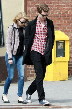 Emma Stone wearing Rag & Bone Hart Biker Jacket and Lanvin Ballet Flat in Black.