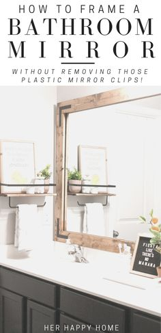 Farmhouse Bathroom Mirrors, Large Bathroom Mirrors, Bathroom Mirror Makeover, Diy Bathroom Remodel, Bathroom Wall Decor, Bathroom Interior Design, Bathroom Renovations, Bathroom Plants, White Bathroom