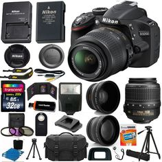 Nikon D3200 Digital SLR Camera 3 Lens Kit 18-55 VR Lens + 32GB Best Value Bundle in Cameras & Photo, Digital Cameras | eBay