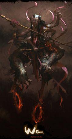 The Astounding Video Game Art of Yang Qi Character Concept, Character Art, Character Design, Digital Painter, Digital Paintings, Digital Art, Design Spartan, Dragons, Fantasy Monster