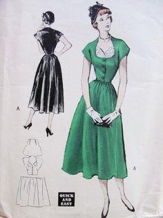 1950s SUSIE STEPHENS ORIGINALS DRESS PATTERN HORSESHOE NECKLINE, FICHU STYLE VESTEE, BASQUE DESIGN, DIRNDLE SKIRTED QUICK n EASY BUTTERICK PATTERNS 5476