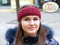 Winter knitted headband, Winter Ear Warmer, Knitted Ear Warmer, Knitted Head Wrap, Chunky Knitted Winter Head band, Purple Knit Head Wrap - pinned by pin4etsy.com