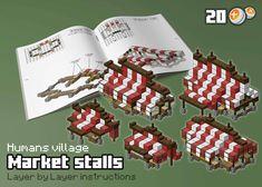 HUM - Market stalls by spasquini - minecraft Minecraft Market, Art Minecraft, Minecraft Building Guide, Minecraft Structures, Minecraft Plans, Minecraft House Designs, Amazing Minecraft, Minecraft Tutorial, Minecraft Blueprints