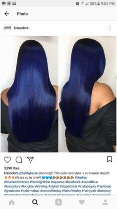 amo blue Black Hair Eu isso Oooooou Oooooou I love this! Dark Blue Hair, Hair Color For Black Hair, Midnight Blue Hair, Cute Hair Colors, Cool Hair Color, Hair Colours, Pelo Multicolor, Curly Hair Styles, Natural Hair Styles