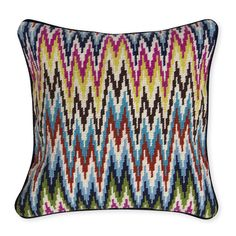Green sofa: multi colored to bring out asian chest and pull from green and navy - needlepoint adds interest. Multi Sandpiper Drive Bargello Throw Pillow