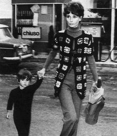 Audrey Hepburn Dotti photographed with her son Luca in Rome (Italy), in April 1972.