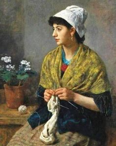 """Mujer tejiendo""                     -                     ""Woman Knitting"" Otto Franz Scholderer (1834-1902)  Pintor alemán"