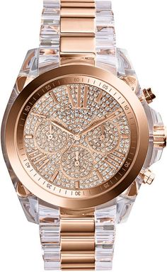 Michael Kors Women's Chronograph Bradshaw Clear and Rose Gold-Tone Stainless…