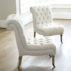 Cecily Armless Chair | Ballard Designs This comes in grey. Great choice for the grey bedroom. Order one to try,. #WhiteChair