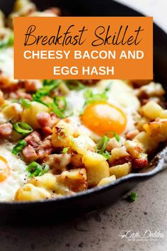 Breakfast Skillet - Cheesy Bacon and Egg Hash. The perfect weekend morning breakfast to start your day off on the right foot. Packed with flavor and protein this is the perfect classic breakfast in a single skillet. Not just a breakfast recipe! This breakfast skillet is one of those breakfast for dinner recipes, when you need something quick, filling and absolutely incredibly delicious. Morning Breakfast, Breakfast For Dinner, Breakfast Dishes, Breakfast Ideas, Breakfast Recipes, Lunch Meals, Lunch Recipes, Dinner Recipes, Breakfast Skillet