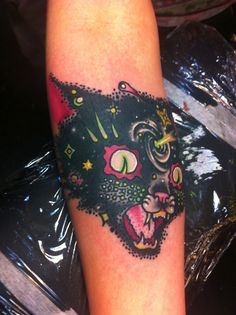 Cat Tattoo By Jon Larson Black Cat Fireworks Outer Space. Would be cool as begemot and master and margarita scenes coming out of it