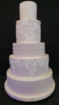 Mocha and Lace wedding cake