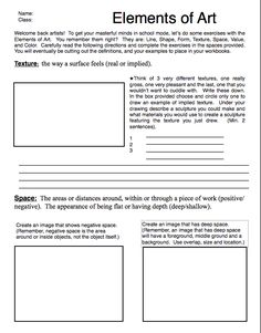 Excellent Elements of Art Review Sheets.    From http://teachers.saschina.org/sdigges/2010/08/23/elements-of-art/#