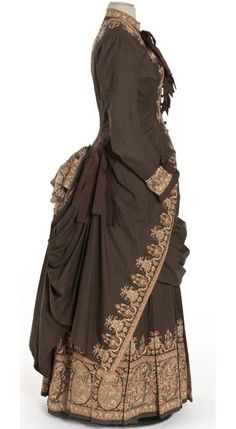 Chocolate Brown Bustle Dress, French, c. 1885.