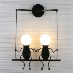 Led Lamps Nordic Retro Childrens Bedroom Bedside Wall Lamp Creative Wrought Iron Cartoon Character Robot Little Man Wall Mounted Lights Led Indoor Wall Lamps